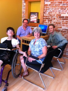 My first meeting with publisher, Russ Davis, mom and Tim Foster